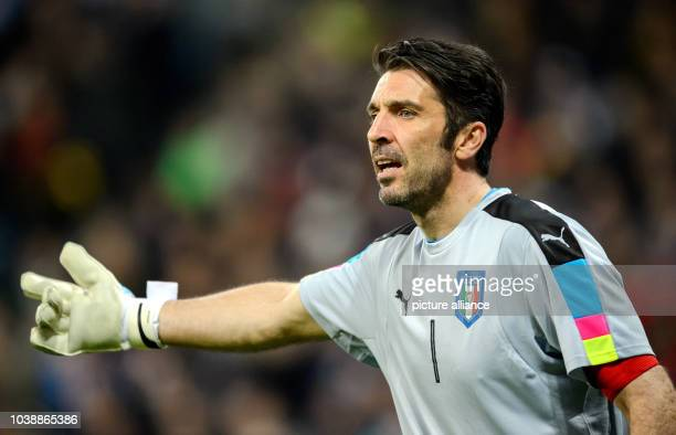 Italy's goalkeeper Gianluigi Buffon during the international soccer match between Germany and Italy in the AllianzArena inMunich, Germany, 29 March...