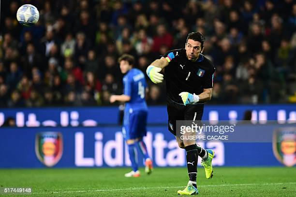 Italy's goalkeeper Gianluigi Buffon is pictured the friendly football match between Italy and Spain at 'FriuliDacia Arena' Stadium in Udine on March...