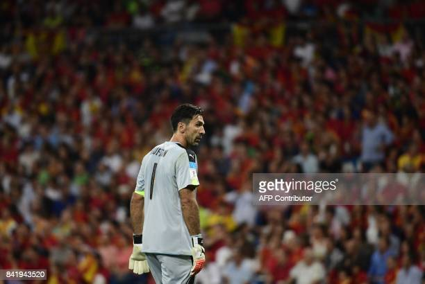 Italy's goalkeeper Gianluigi Buffon looks on during the World Cup 2018 qualifier football match between Spain and Italy at the Santiago Bernabeu...