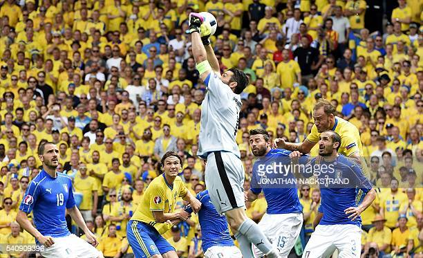 Italy's goalkeeper Gianluigi Buffon makes a save during the Euro 2016 group E football match between Italy and Sweden at the Stadium Municipal in...