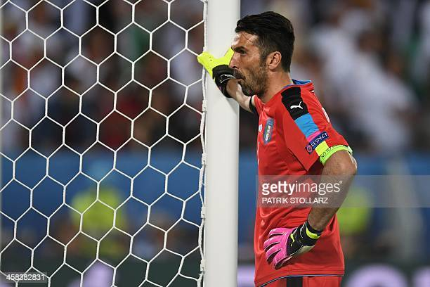 Italy's goalkeeper Gianluigi Buffon reacts during the Euro 2016 quarter-final football match between Germany and Italy at the Matmut Atlantique...