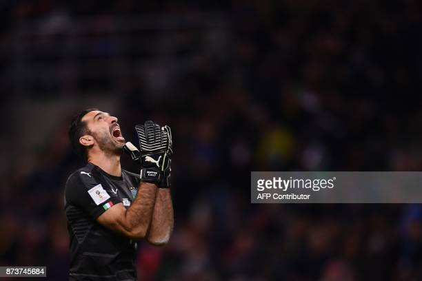 TOPSHOT Italy's goalkeeper Gianluigi Buffon reacts during the FIFA World Cup 2018 qualification football match between Italy and Sweden on November...