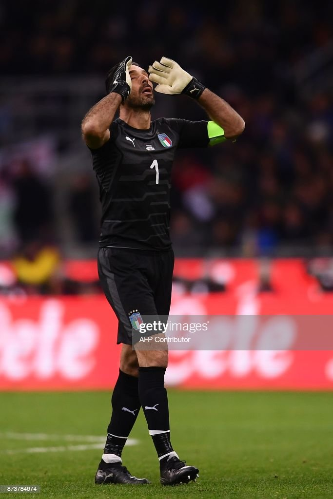 CROP - Italy's goalkeeper Gianluigi Buffon reacts during the FIFA World Cup 2018 qualification football match between Italy and Sweden, on November 13, 2017 at the San Siro stadium in Milan. / AFP PHOTO / Marco BERTORELLO