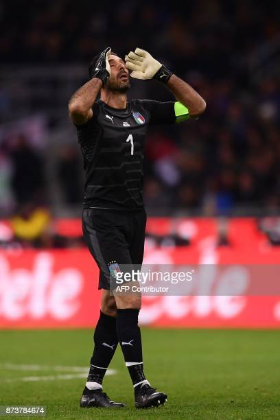 CROP Italy's goalkeeper Gianluigi Buffon reacts during the FIFA World Cup 2018 qualification football match between Italy and Sweden on November 13...
