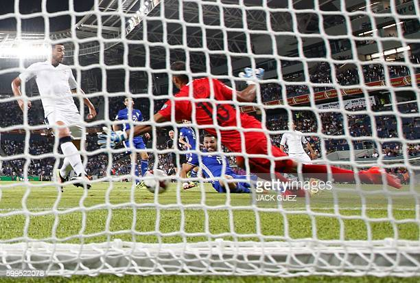 Italy's Graziano Pelle scores a goal during their World Cup 2018 qualification match between Israel and Italy at the Sammy Ofer Stadium in Haifa on...
