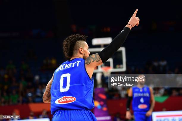 Italy's guard Daniel Hackett celebrates during the FIBA Eurobasket 2017 men's round 16 basketball match between Finland and Italy at the Sinan Erdem...