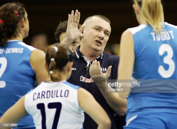 Italy's head coach Barbolini Massimo gives instructions to captain Simona RinieriDennis and players Paola Cardullo and Elisa Togut during their...