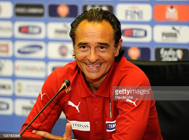 Italy's head coach Cesare Prandelli attends a press conference ahead of their European Championship Qualifying group stage match against Estonia at...