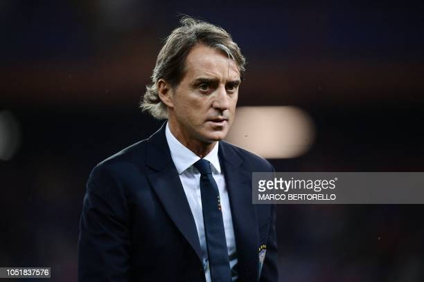 Italy's head coach Roberto Mancini is pictured prior to the friendly football match Italy vs Ukraine on October 10, 2018 at the Luigi-Ferraris...