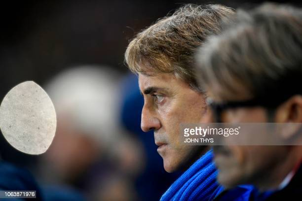 Italy's head coach Roberto Mancini looks on during the friendly football match between Italy and the USA at the Luminus Arena Stadium in Genk on...