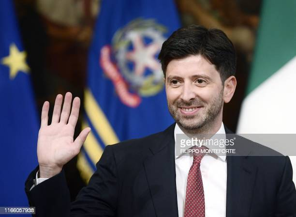 Italy's Health Minister Roberto Speranza gestures at the start of the new Cabinet's first meeting on September 5 2019 at Palazzo Chigi in Rome Prime...