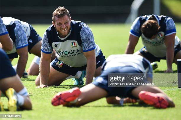 Italy's hooker Luca Bigi takes part in a training session at the Kusanagi Sports Complex Ball Game Field in Shizuoka on October 2 2019 during the...