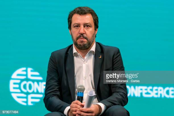 Italy's Interior Minister and deputy PM Matteo Salvini attends a meeting with the Italian Confesercenti on June 13 2018 in Rome Italy