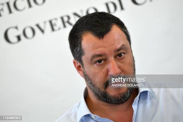 Italys Interior Minister and deputy PM Matteo Salvini attends on July 9 2019 the closure of Europe's onetime biggest asylum seeker and migrants...