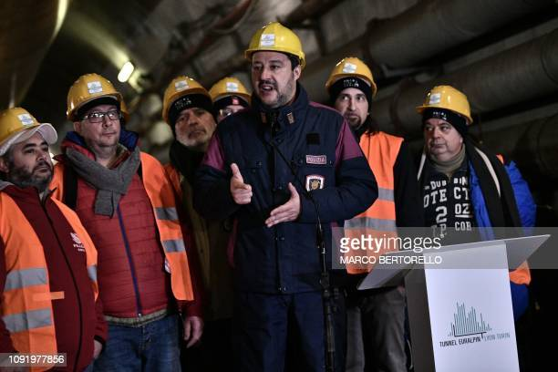 Italys Interior Minister and deputy PM Matteo Salvini delivers a speech during a visit to the building site of the TAV highspeed train line between...