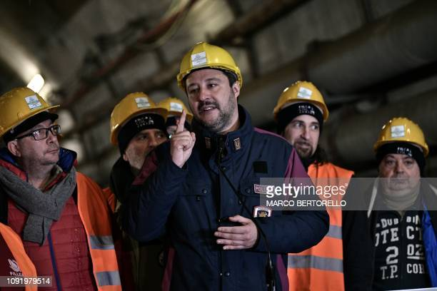 Italys Interior Minister and deputy PM Matteo Salvini delivers a speech in the tunnel of the TAV highspeed train line between Italy and France during...