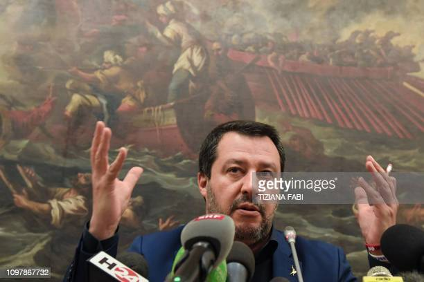 Italys Interior Minister and deputy PM Matteo Salvini gestures as he speaks during a press conference on February 11 2019 in Rome a day after a...