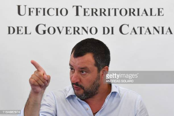 Italys Interior Minister and deputy PM Matteo Salvini gestures as he speaks on July 9 2019 during the closure of Europe's onetime biggest asylum...