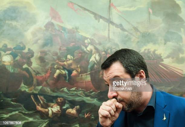 Italys Interior Minister and deputy PM Matteo Salvini leaves after holding a press conference on February 11 2019 in Rome a day after a regional vote...