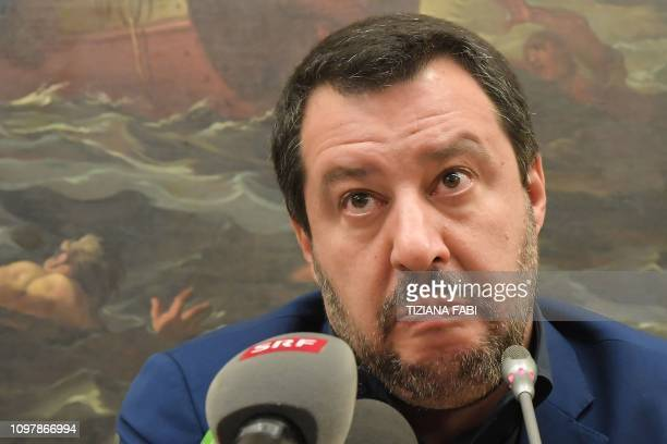 Italys Interior Minister and deputy PM Matteo Salvini reacts during a press conference on February 11 2019 in Rome a day after a regional vote in the...