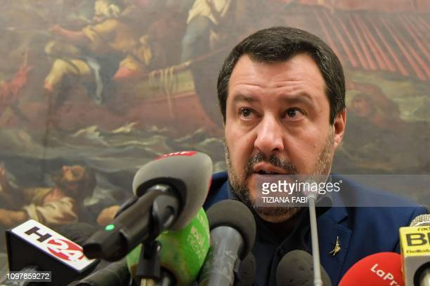 Italys Interior Minister and deputy PM Matteo Salvini speaks during a press conference on February 11 2019 in Rome a day after a regional vote in the...