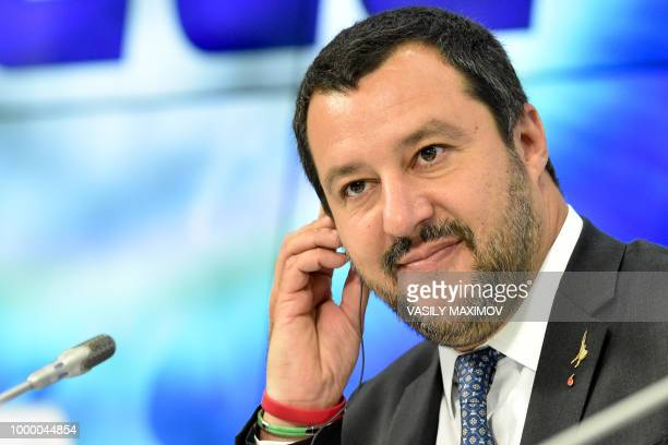Italy's Interior Minister and deputy Prime Minister Matteo Salvini holds a press conference in Moscow on July 16 2018