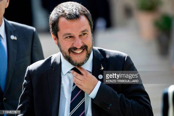 Italys Interior Minister and Deputy Prime Minister Matteo Salvini reacts before a group photo at the French Ministry of Interior in Paris on April 4...
