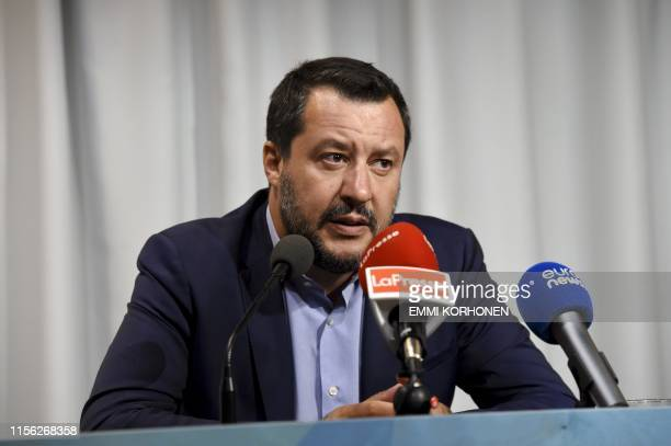 Italy's Interior Minister and deputy Prime minister Matteo Salvini attends a press conference in Helsinki Finland on July 18 2019 after an Informal...