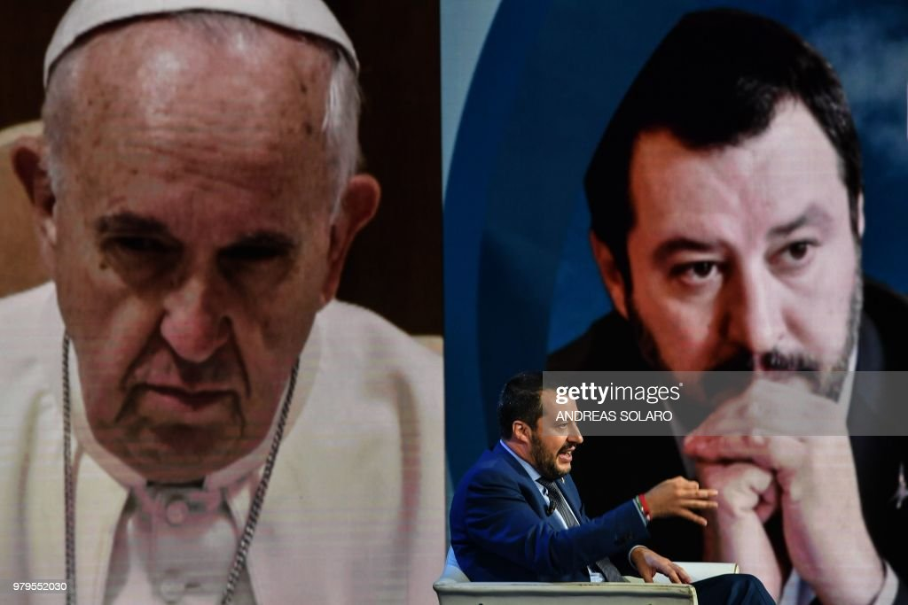 ITALY-POLITICS-TV-RAI-SALVINI : News Photo