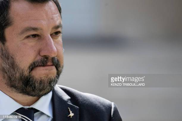 Italys Interior Minister and Deputy Prime Minister Matteo Salvini reacts poses for a group photo at the French Ministry of Interior in Paris on April...