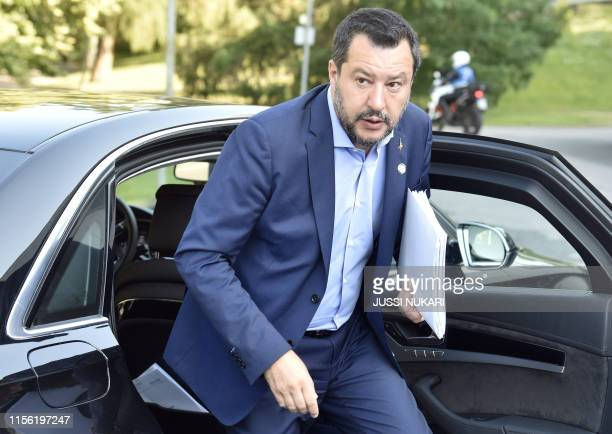 Italy's Interior Minister and deputy Prime minister Matteo Salvini arrives for an informal meeting of EU ministers for Home Affairs in Helsinki on...