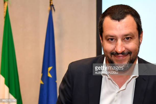 Italy's Interior Minister and deputy Prime Minister Matteo Salvini arrives to address a press conference for the new Mercurio App in Rome on July 5...