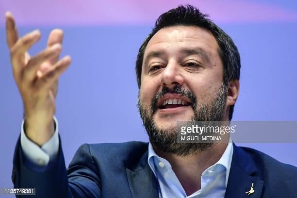 Italys Interior Minister deputy PM and Federal Secretary of Italy's Northern League rightwing regionalist political party Matteo Salvini gestures as...