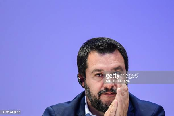 Italys Interior Minister deputy PM and Federal Secretary of Italy's Northern League rightwing regionalist political party Matteo Salvini looks on...