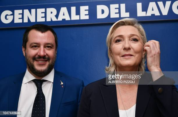 Italy's Interior Minister Matteo Salvini and leader of France's farright National Rally party Marine Le Pen pose prior to attending a debate on the...