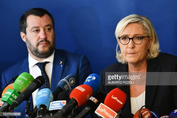 Italy's Interior Minister Matteo Salvini and leader of France's farright National Rally party Marine Le Pen hold a press conference within a meeting...