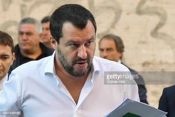 Italy's Interior Minister Matteo Salvini arrives on October 8 2018 to the headquarters of the Unione Generale del Lavoro trade union in Rome to...