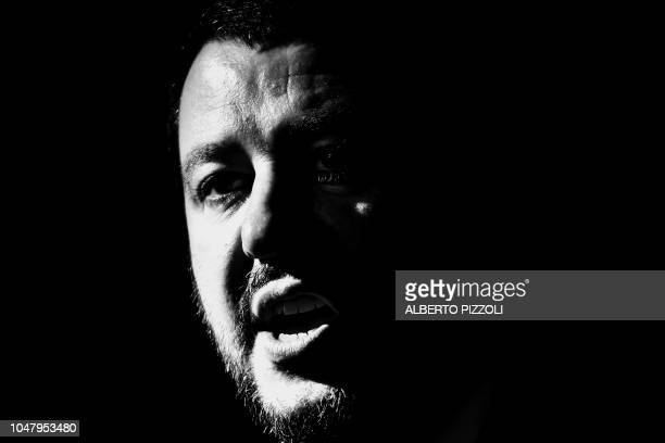 TOPSHOT Italy's Interior Minister Matteo Salvini speaks during a press conference with leader of France's farright National Rally party within a...