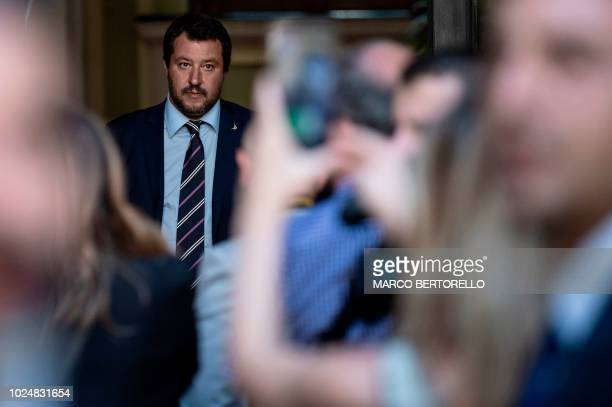 Italy's Interior Minister Matteo Salvini waits for the arrival of Hungary's Prime Minister Viktor Orban ahead of a meeting in Milan on August 28 2018