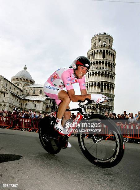 Italy's Ivan Basso rides to finish second at the eleventh stage of Giro D'Italia cycling tour individual time trial from Pontedera to Pontedera 18...