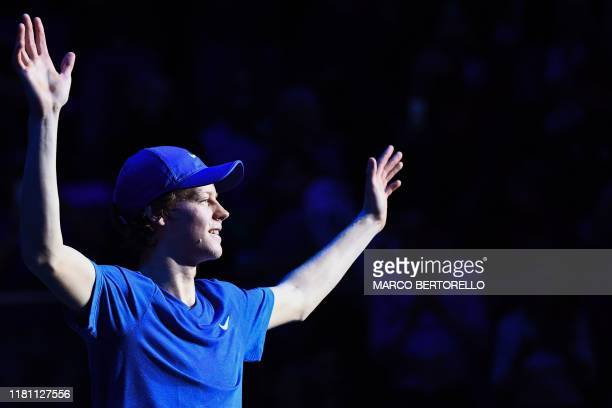 Italy's Jannik Sinner celebrates after defeating Australia's Alex De Minaur during the final of the Next Generation ATP Finals at the Allianz Cloud...