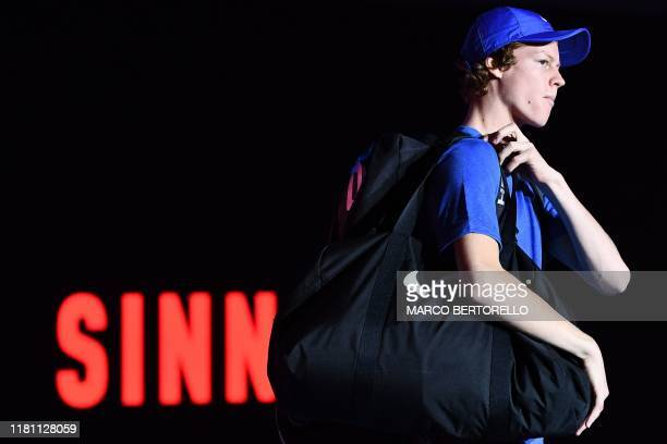 Italy's Jannik Sinner leaves after defeating Australia's Alex De Minaur in the final of the Next Generation ATP Finals at the Allianz Cloud Court on...