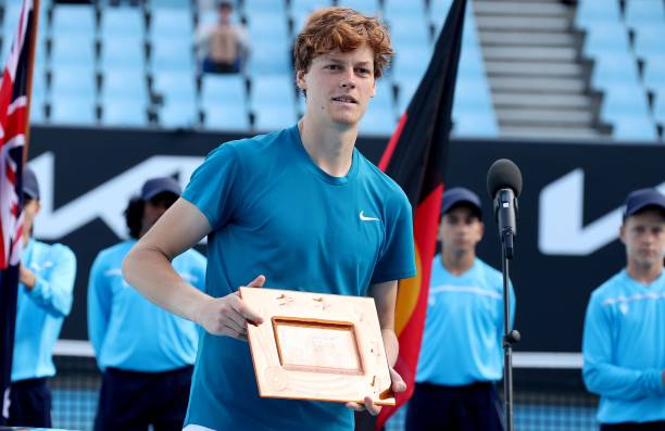 Italy's Jannik Sinner poses with the trophy after winning against Italy's Stefano Travaglia in the Great Ocean Road Open men's singles final tennis...