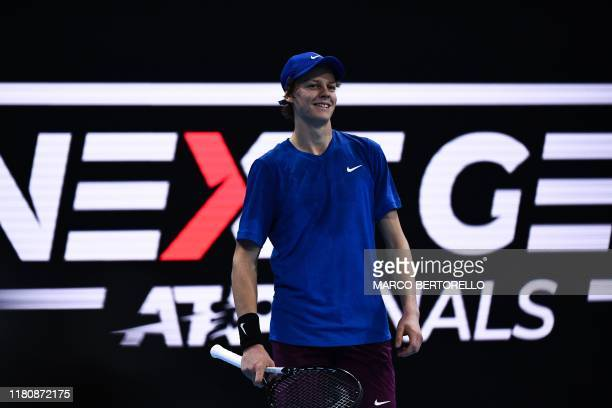 Italy's Jannik Sinner reacts during the semifinal match of the Next Generation ATP Finals against Serbia's Miomir Kecmanovic at the Allianz Cloud...