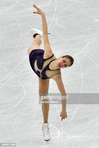 Italy's Karolina Kostner in action at the women's figure skating singles at the Gangneung Ice Arena in Gangneung South Korea 23 February 2018 Photo...