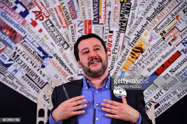 Italy's Lega Nord party Matteo Salvini answers questions at the Foreign Press Association in Rome on February 22 2018 Salvini and his coalition run...
