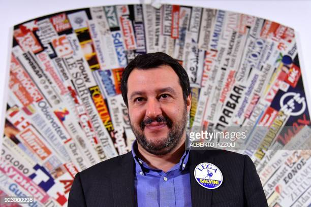 Italy's Lega Nord party Matteo Salvini smiles during a press conference at the Foreign Press Association in Rome on February 22 2018 Salvini and his...