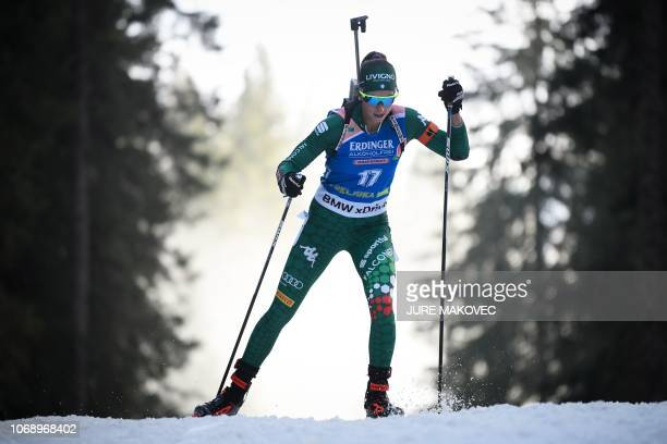 Italy's Lisa Vittozzi competes during the IBU Biathlon World Cup Women's 15km Individual competition in Pokljuka on December 6 2018