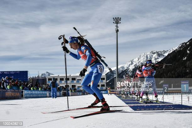 Italy's Lisa Vittozzi competes in the Women 4x6 km Relay Competition at the IBU Biathlon World Cup in Rasen-Antholz , Italian Alps, on February 22,...