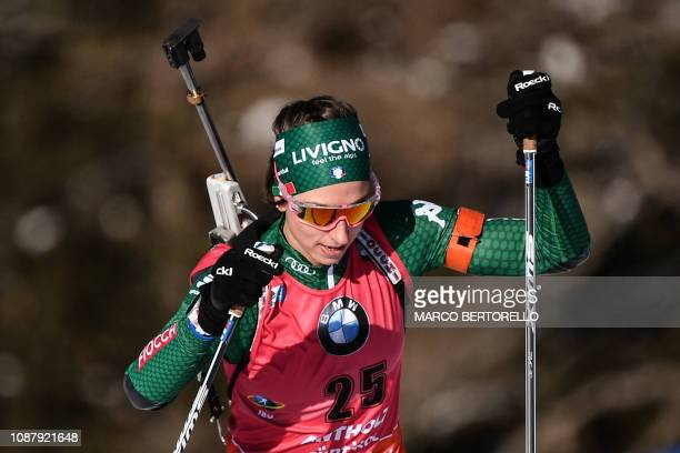 Italy's Lisa Vittozzi competes in the women's 75 km sprint event of the IBU Biathlon World Cup in RasenAntholz Italian Alps on January 24 2019